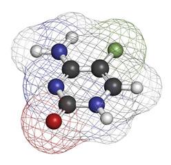 Flucytosine (5-fluorocytosine) antimycotic drug molecule.