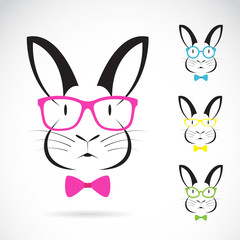 Vector image of a rabbits wear glasses