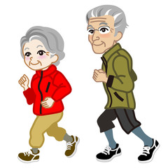 Running Senior couple Isolated