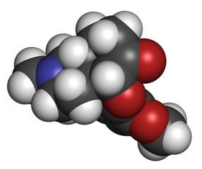 Hydrocodone narcotic analgesic drug molecule.