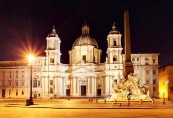 Piazza Navona at dusk. Rome, Italy.