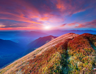 Сolorful autumn sunrise in the mountains.