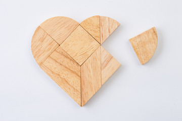 heart version of tangram, a traditional Chinese Puzzle Game made