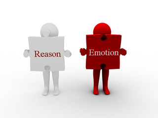 3d illustration man with word Reason and Emotion