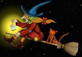befana con gatto e lume