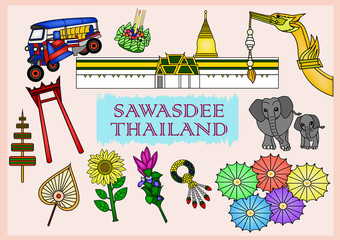 Set of Sawasdee Thailand Culture - illustration
