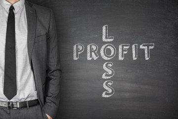 Loss & profit on blackboard