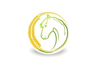 logo Farm, abstract natural horse symbol Vector