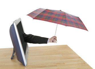 hand with checkered umbrella pops out TV screen