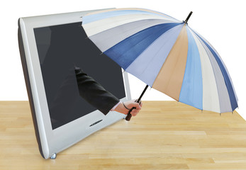 arm with striped umbrella leans out TV screen