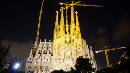 Sagrada Familia in evening. Barcelona