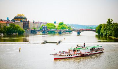The View on summer Prague above River Vltava