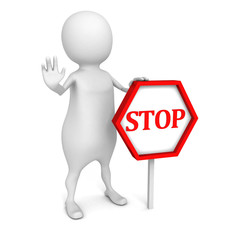 3d white people with STOP sign on white background