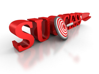 SUCCESS word with red dart arrow in center of target