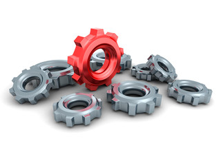 Cogwheel Gears With One Red Concept Leader
