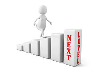 3d man climbs up to next level. success career concept