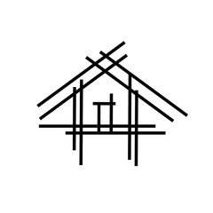 House with sticks- a house under construction- abstract logo