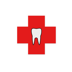 Teeth on a red cross- logo for dentist