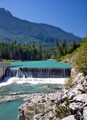 Small dam on mountain  the mountain river