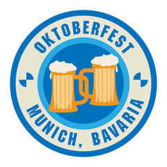 Stamp with beer mugs and the text Oktoberfest