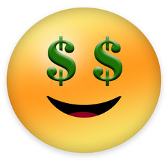 Happy emoticon with dollar sign expressing lucky