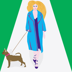 woman and a dog.