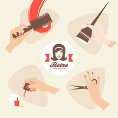 Beauty shop hairdressing icons