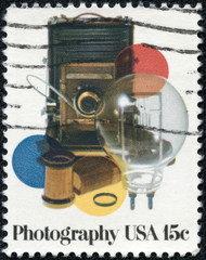stamp shows vinatge photocamera and acsessores