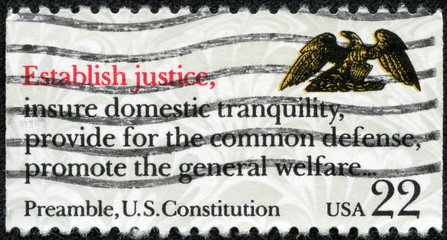 stamp printed in the USA shows Preamble