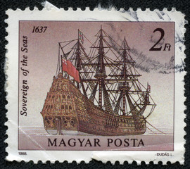 stamp printed in Hungary shows Sovereign of the Seas, 1637