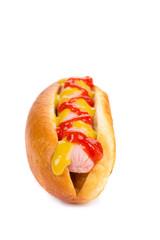 Tasty hot dog with mustard.