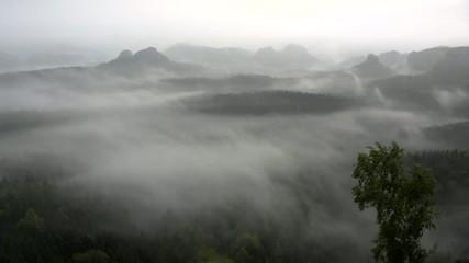 Misty daybreak in autumn landscape