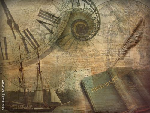 Leinwanddruck Bild History Collage