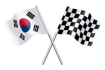Flags: South Korea and checkerboard