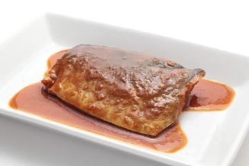 Japanese cuisine, mackerel simmered in miso sauce