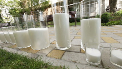 Candles glass in nature