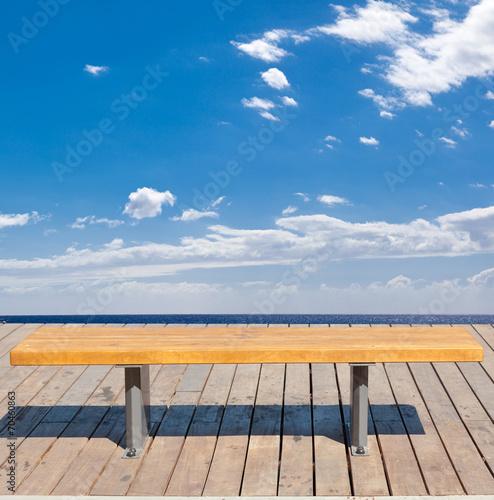 canvas print picture banc face à la mer et au ciel