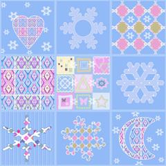 Patchwork seamless christmas pattern geometric elements backgrou