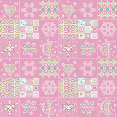 Patchwork seamless christmas pattern geometric elements backgrou