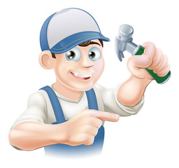 Cartoon Carpenter Pointing