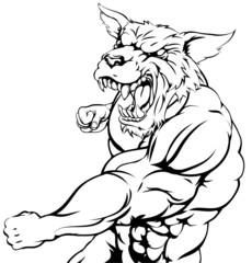 Wolf or wolfman werewolf punching