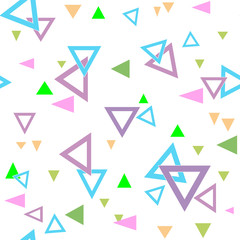 Kids seamless geometric pattern triangle white background