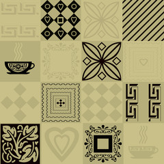 Patchwork seamless bright pattern with elements and cup of coffe