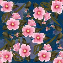 Elegant seamless pattern pink flowers background