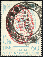 stamp printed in Italy shows the Globe