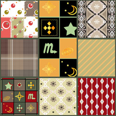 Patchwork seamless retro geometric ornate pattern background