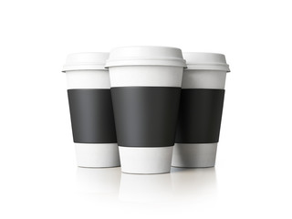 Three paper cups isolated