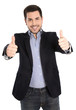 Erfolgreicher Business Mann freigestellt mit Daumen hoch