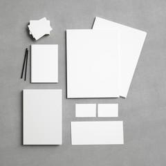 White identity elements on textile background