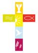 Kreuz farbenfroh